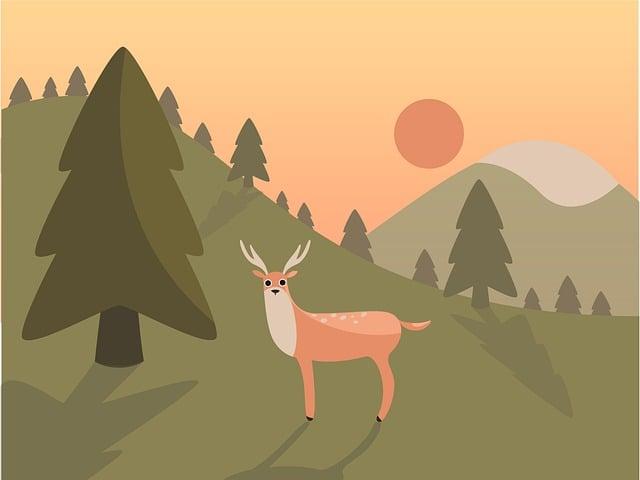 Landscape, Deer, Mountain, Nature, Wild, Park, Sunset
