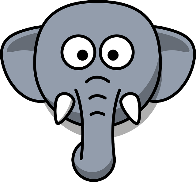 Elephant, Head, Stupid, Cartoon, Gray, Zoo, Wildlife