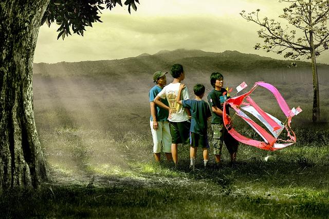 Child, Husband, Play, Kite, Wind