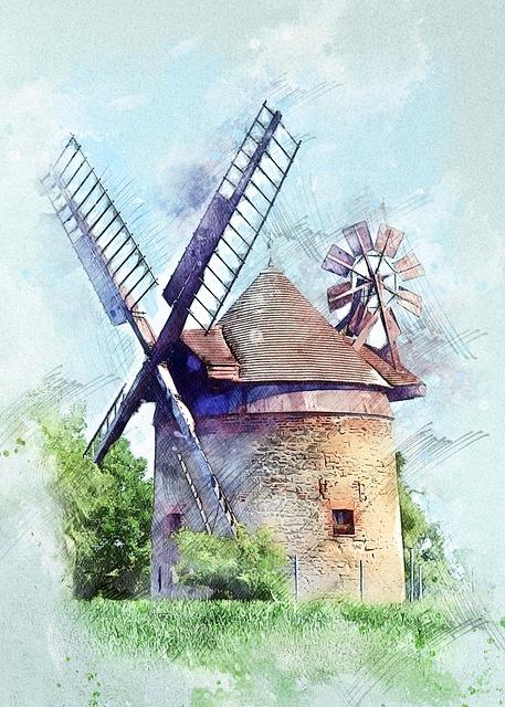 Windmill, Building, Architecture, Landscape