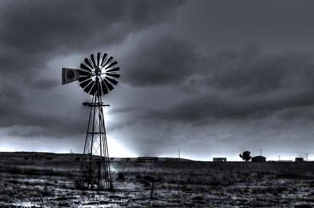 Black And White Landscape, Windmill, Country