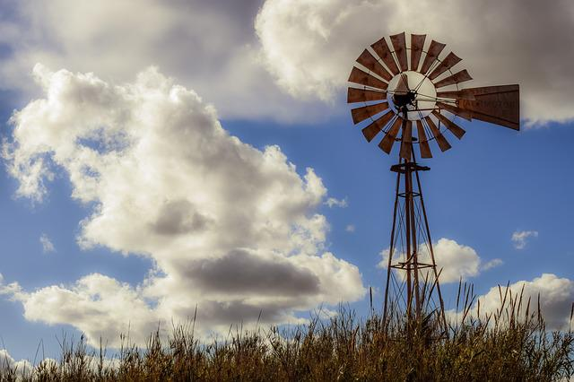 Windmill, Sky, Nature, Clouds, Landscape, Scenery