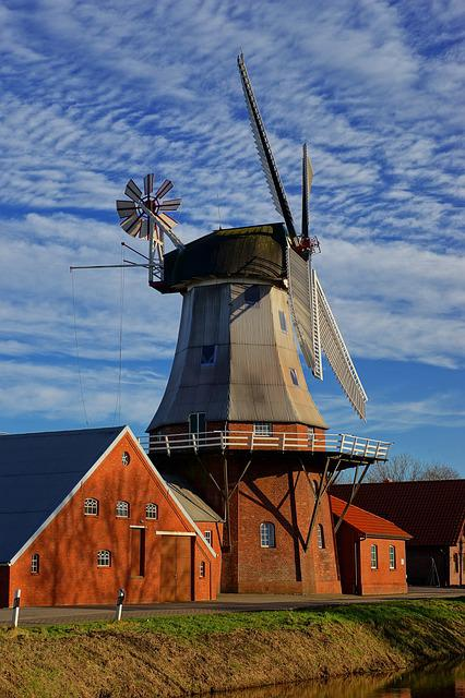 Sky, Windmill, Dutch, East Frisia, Grind Grain