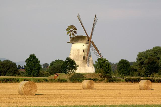 Farm, Agriculture, Sky, Windmill, Field, Harvest