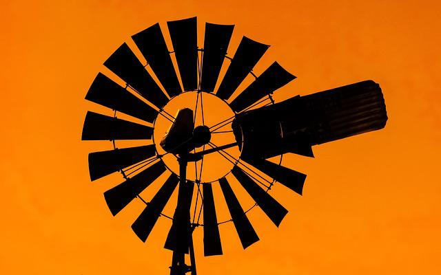 Windmill, Sunset, Shadow, Orange
