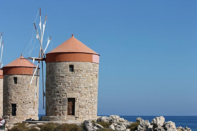 Windmills, Landmark, Rhodes, Greece, Building