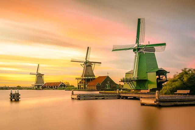 Windmills, Lake, Sunset, Dusk, Twilight, Architecture