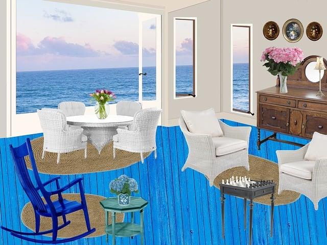 Cottage, Seaside, Flowers, House, Window, Blue, Summer