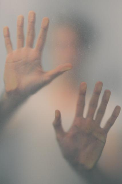 Stuck, Imprisoned, Hands, By, Window, Blur, Shadow