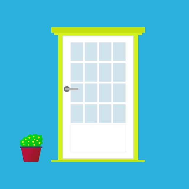 Door, Front Door, Flower, Flowerpot, Door Knob, Window