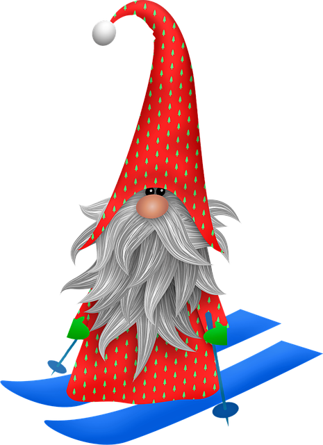 Scandia Gnome, Christmas Skiing, Gnome Skiing, Window