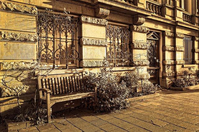 Bench, Facade, Window, Grille, Street, Urban, City
