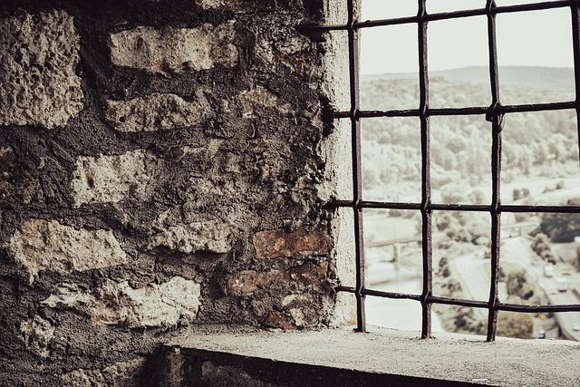 Stone Wall, Window, Grid, Old, Grille, Metal, Iron
