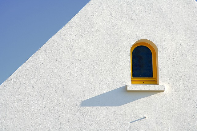 Window, Minimal, White, Yellow, Blue, Sky, Shadow