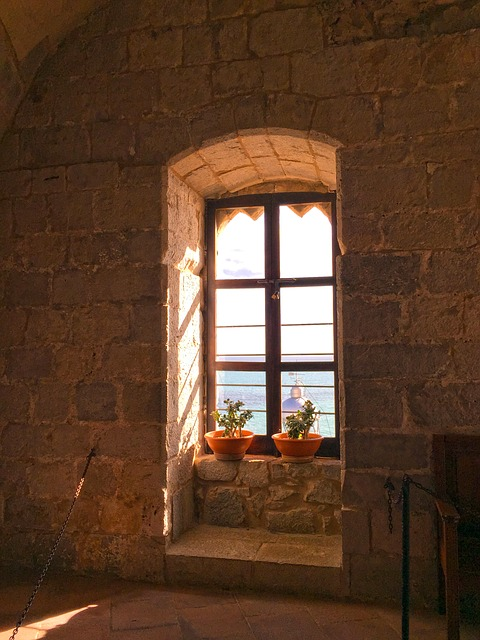 Window, Castle, Wall, Sea, View
