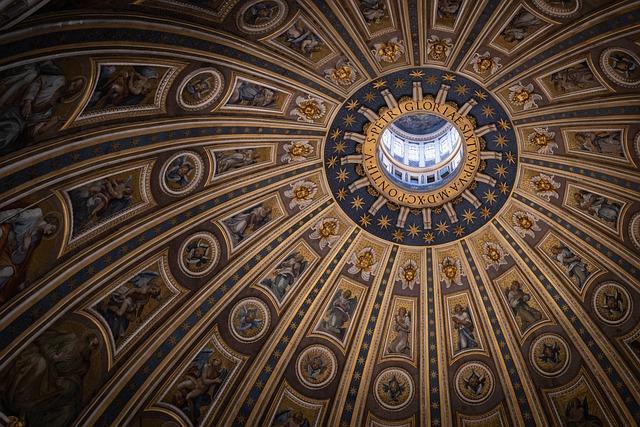 Rome, Ancient City, Vatican, Dome, Ceiling, Windows