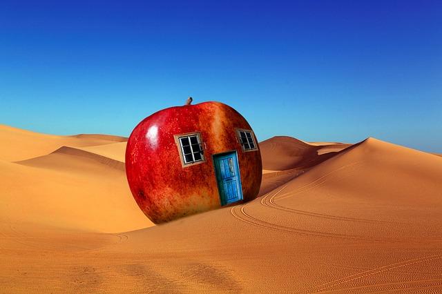 Apple, House, Fantasy, Windows, Door, Desert, Landscape