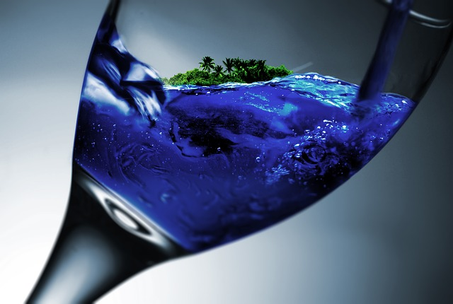 Glass, Wine Glass, Island, Water, Holiday, Dream