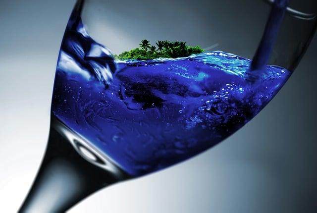 Glass, Wine Glass, Island, Water, Holiday, Dream