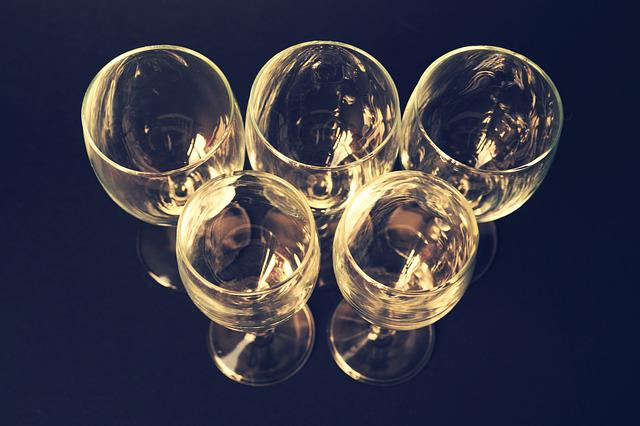 Above, Close-up View, Olympic, Wine Glasses