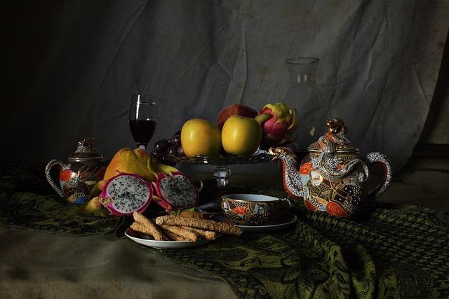 Still Life, Cup, Apple, Pitaya, Wine, Glass