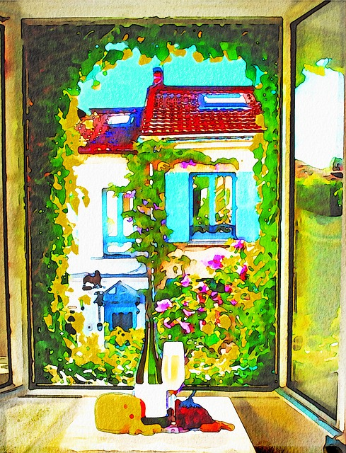 French Window, Wine, Watercolor, Paris, Decoration
