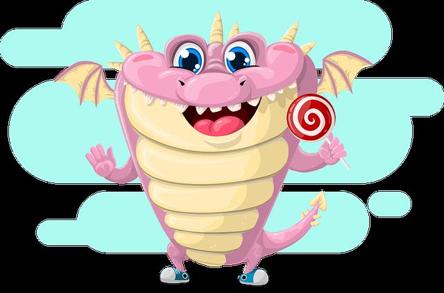 Dragon, Cute, Pink, Lollipop, Wing, Tale, Fairy