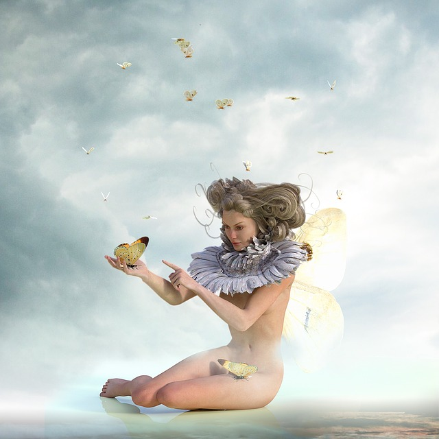 Butterflies, Woman, Wing, Sky, Fantasy, Female