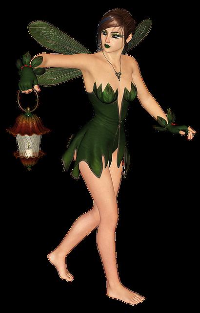 Fee, Elf, Lantern, Wing, Fairy, Fae, Lamp, Woman