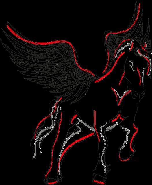 Pegasus, Horse, Wing, Winged Horse, Mystical, Black