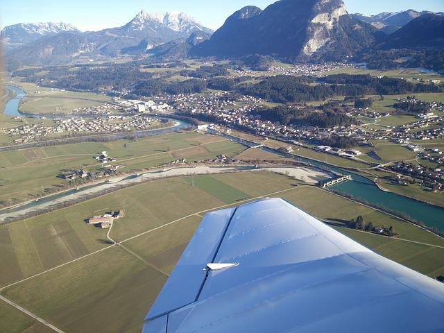 River, Mountains, Wing, Aircraft