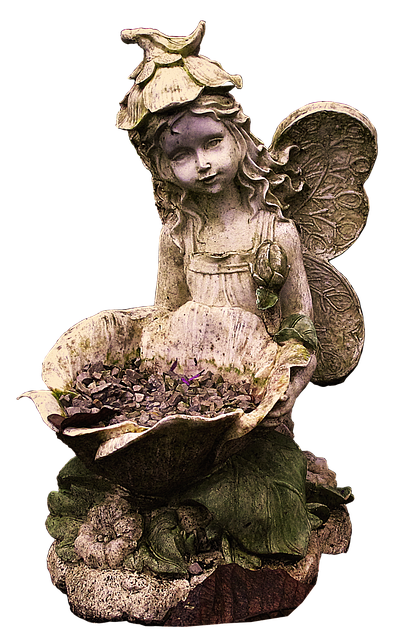 Fee, Elf, Wing, Wheelbarrow, Vintage, Weathered, Fairy