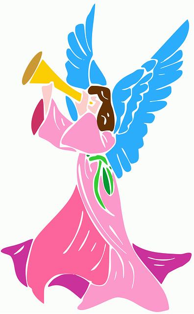 Angel, Trumpet, Rosa, Wings, Angelic, Mystic, Mysticism