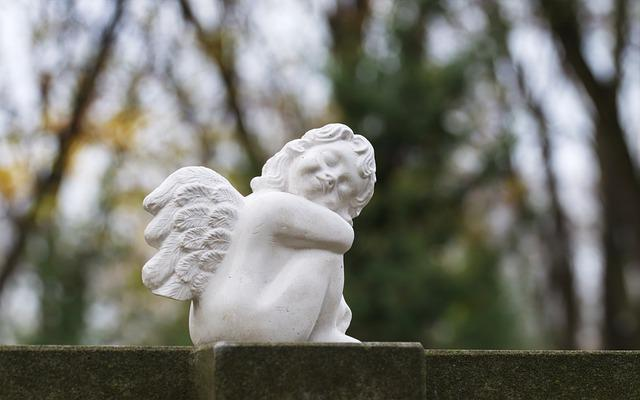 Figurines, Sculpture, Stone, White, Angel, Child, Wings
