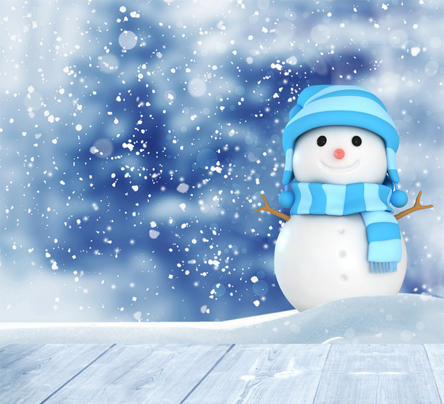 Snowman, Blue Background, Scarf, December, Winter