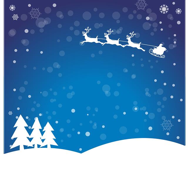 Christmas, Santa Claus, Winter, Gifts, Blue, Snow, Tree