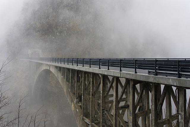 Bridge, Fog, Roads, Winter