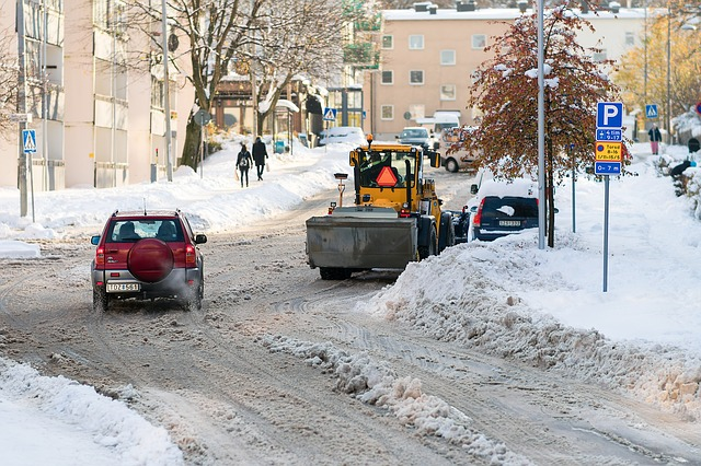 Plough, Street, Winter, Snow, Cold, Cars, Covered