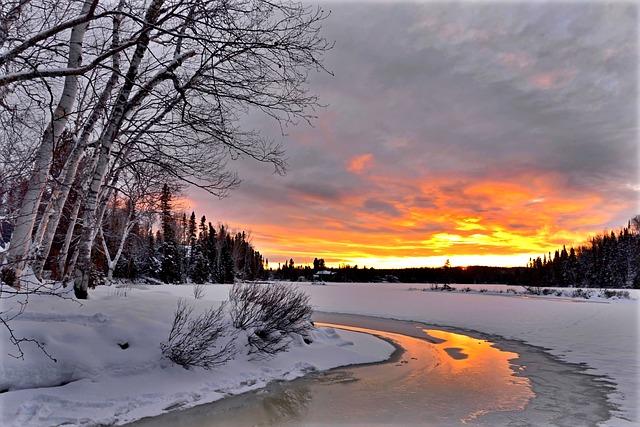 Sunset, Landscape, Nature, Orange, Water, Cold, Winter