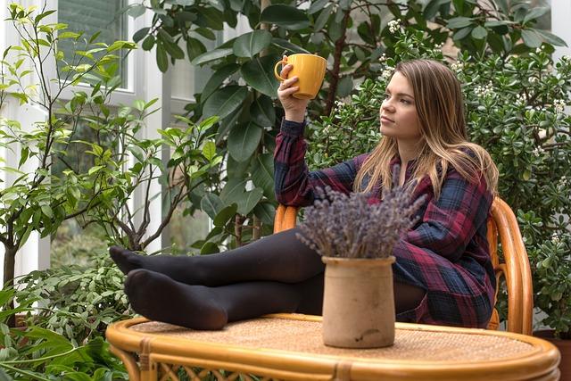 Girl, Rest, Coffee, Serenity, Winter Garden, Nature
