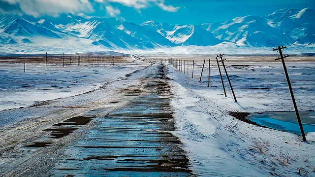 Mountains, Snow, Ice, Winter, Road, Power Line, Remote