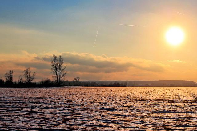Sunrise, Winter Impressions, Wintry, Snow, Cold, Winter