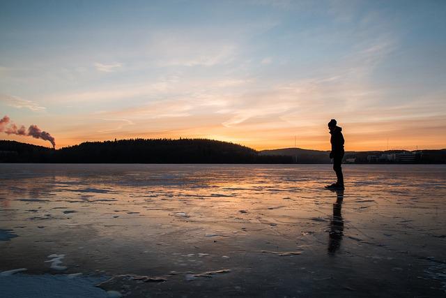 Skating, Ice, Winter, Lake, Sunset, Landscape