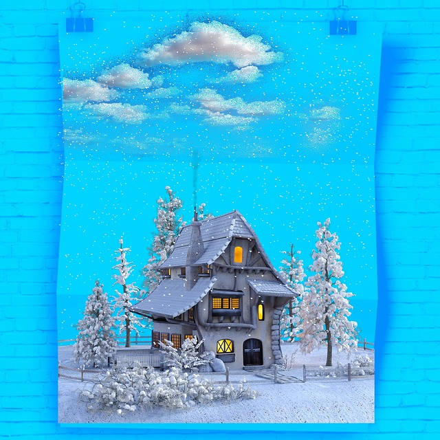 Poster, Snowy, Winter, Landscape, House, Clouds, Snow