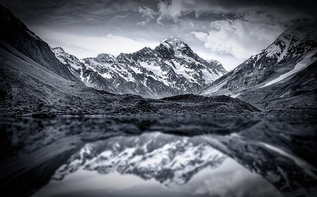 Mountains, Mountain, Lake, Snow, Winter, Nature