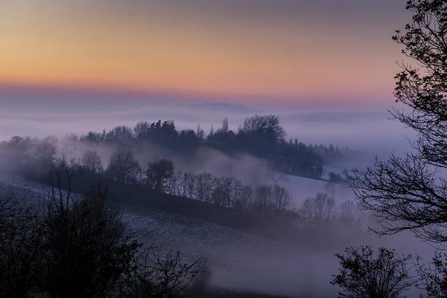 Nature, Sunset, Panoramic, Fog, Sky, Trees, Winter