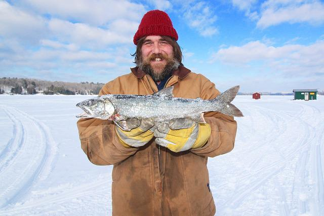Ice Fishing, Canada, Trout, Winter, Outdoor, Lake, Cold