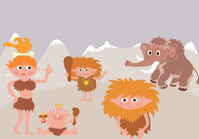 Prehistory, Mammoth, Family, Winter, Primitive Man