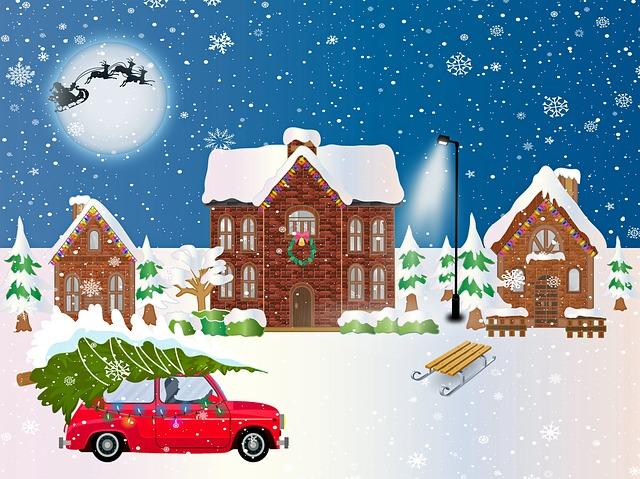 Christmas Village, Winter, Christmas Car, Sled