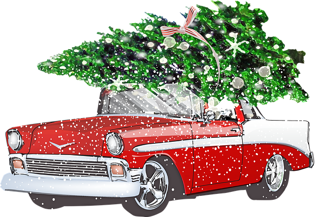 Retro Chevrolet With Christmas Tree, Snow, Car, Winter